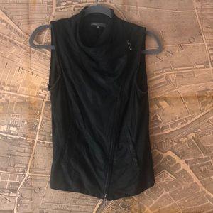 Vince black leather moto Jacket/zip off vest